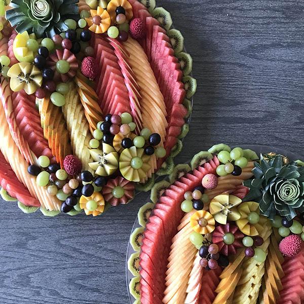 Two Tiered Stunning Fruit arrangements